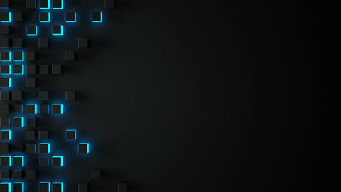 Black and glowing blue 3D boxes seamless loop background Animation