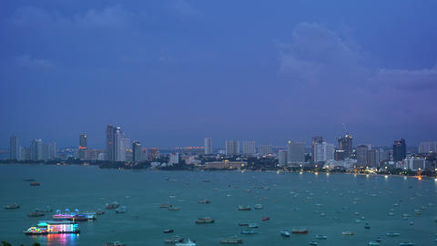Skyscrapers on the seashore in twilight time Pattaya Thailand Footage