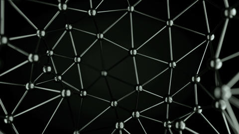 Chaotic connecting structure with spheres and lines loopable Animation