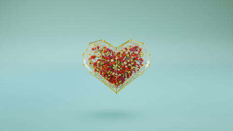 Transparent heart shape with small balls inside are jumping loopable 3D render Animation