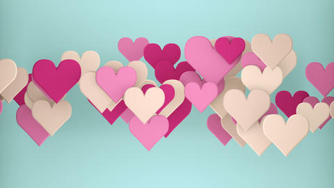 Heart shapes 3D render seamless loop animation Animation