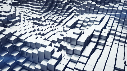 Abstract 3D rendering of metalic blocks loopable animation Animation
