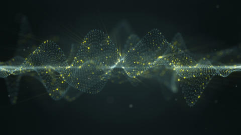 Futuristic glowing wavy surface seamless loop animation with DOF Animation