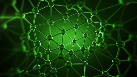 Green plexus structure with lines and spheres seamless loop Animation