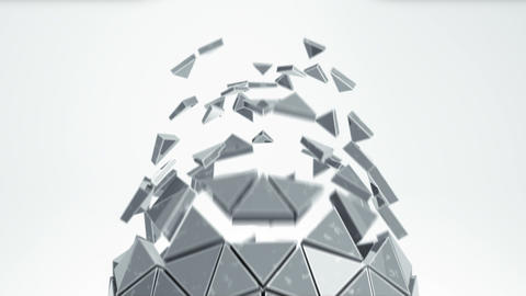 Grey sphere with grungy surface and exploded polygons seamless loop Animation
