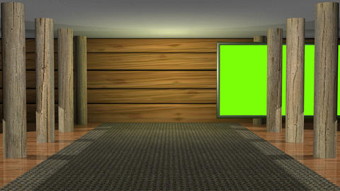 Virtual studio set. Wood theme.Camera static wide view then zooms in Animación
