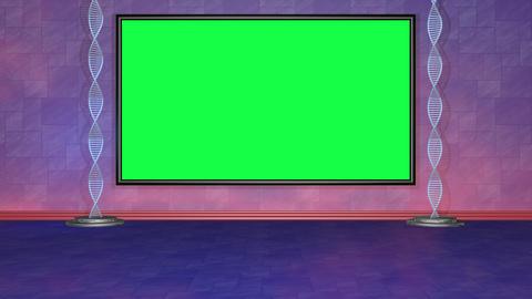 Virtual studio set Green screen with rotating DNA. Camera view static. Looping Animation