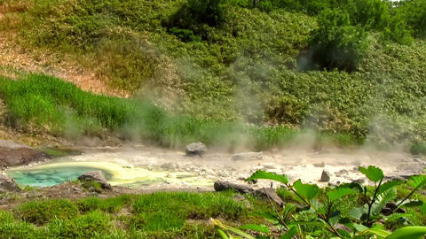 White Vapor Above The Hot Springs On Volcano Slope, Live Action