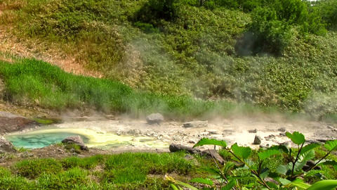 White Vapor Above The Hot Springs On Volcano Slope Live Action