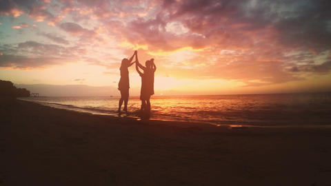 A silhouetted group of friend celebrate on a beach. 4K broadcast quality Footage