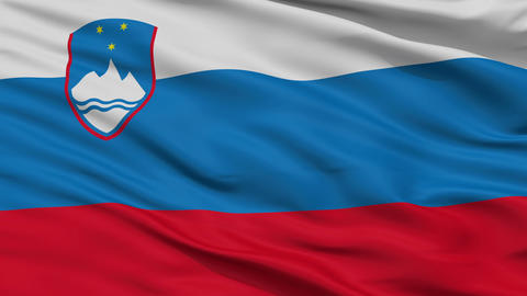 Close Up Waving National Flag of Slovenia Animation
