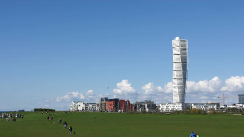 Time Lapse of the Turning Torso Skyscraper in Malmoe, Sweden - 25p 4k Footage