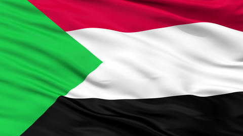 Close Up Waving National Flag of Sudan Animation