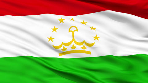 Close Up Waving National Flag of Tajikistan Animation