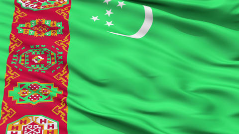 Close Up Waving National Flag of Turkmenistan Animation