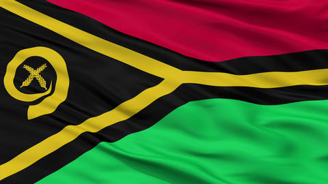 Close Up Waving National Flag of Vanuatu Animation