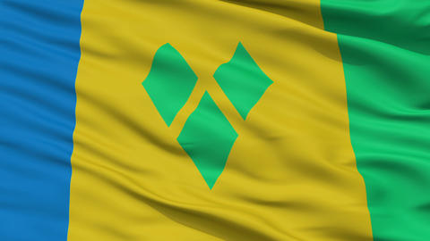 Close Up Waving National Flag of Saint Vincent and the Grenadines Animation