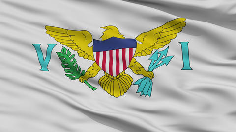Close Up Waving National Flag of the United States Virgin Islands Animation
