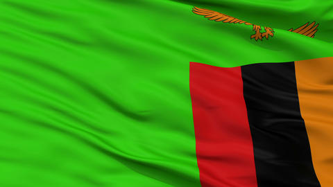 Close Up Waving National Flag of Zambia Animation