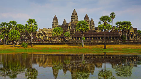 Angkor Wat temple in Siem Reap, zoom timelapse Footage