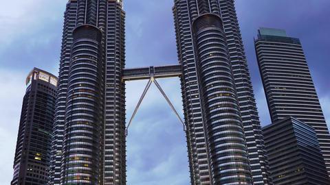 Petronas Twin Towers at Kuala Lumpur, timelapse Footage