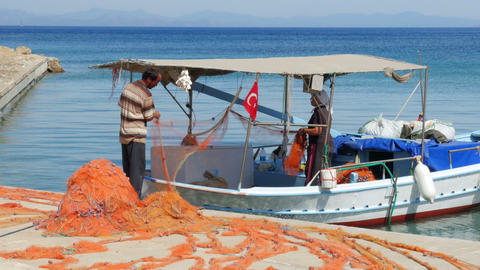 DATCA, TURKEY - APRIL 2015: Fishermen working Footage