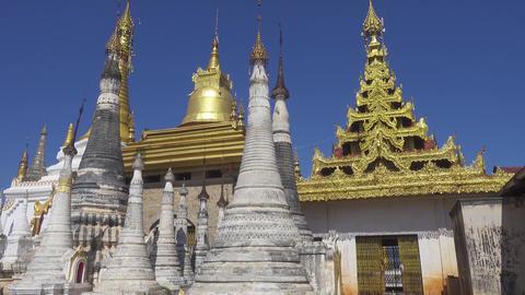 Shwe Inn Thein Paya temple complex near Inle Lake Footage