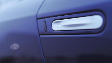 View of handle on door dark blue new car. Presentation. Showing. Automobile. Col Footage