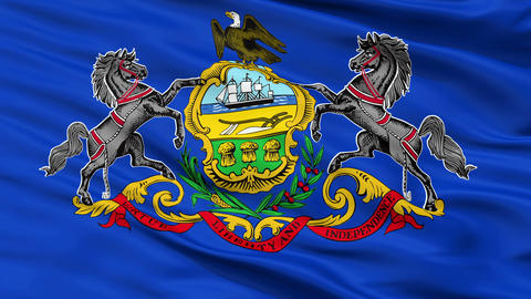 Close Up Waving National Flag of Pennsylvania Animation