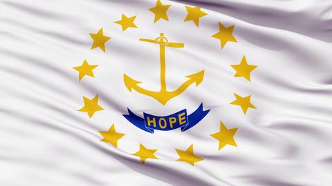 Close Up Waving National Flag of Rhode Island Animation