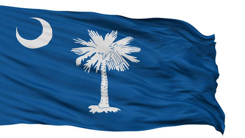 Isolated Waving National Flag of South Carolina Animation