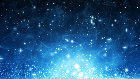 Abstract blue motion background with particles lines and dots glowing Animation