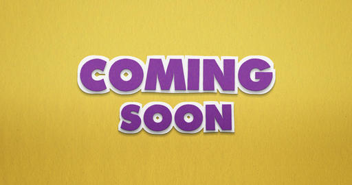 Coming soon in purple on yellow paper. stop motion animation. 4K Animation