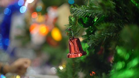 Jingle bell on christmas tree closeup Footage