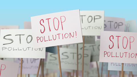 STOP POLLUTION placards at street demonstration. Conceptual loopable animation Footage