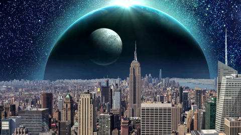 Fantasy New York City Animation. Apocalypse of New York. Ver. 02 CG動画素材
