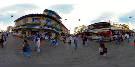360VR video of people shopping at the famous market Mahane Yehuda Market in the VR 360° Video