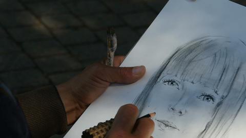 pencil portrait of a beautiful girl Footage