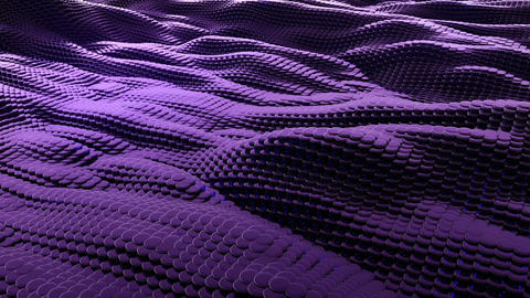 Animation of wave purple metallic liquid with reflections. Loopable animation Animación