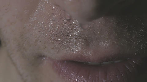 The man's smile.A man with a beard smiling. Close-up. sexy lips Footage