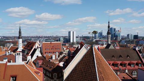 Time lapse panorama of Tallinn old town, Estonia Footage