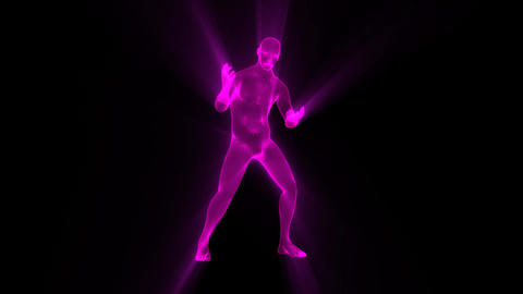 3D Fuchsia Wireframe Man with Light Rays Loop Graphic Element Animation