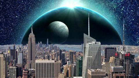 Fantasy New York City Animation. Apocalypse of New York.... Stock Video Footage