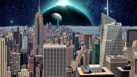 Fantasy New York City Animation. Apocalypse of New York. Ver. 08 CG動画素材