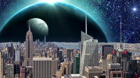 Fantasy New York City Animation. Apocalypse of New York. Ver. 10 CG動画素材