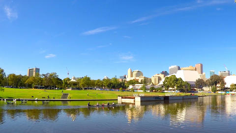 Adelaide Riverbank City skyline from across the Torrens River riverbank with Footage
