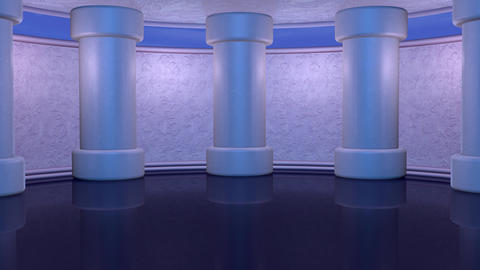 Virtual set with tall columns and moving clouds background.Looping 3d animation Animation