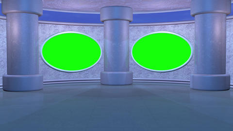 Virtual studio set with tall columns, oval screens. Looping clouds animation Animation
