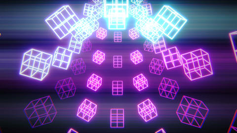 Vj cubes Glowing with shine CG動画素材