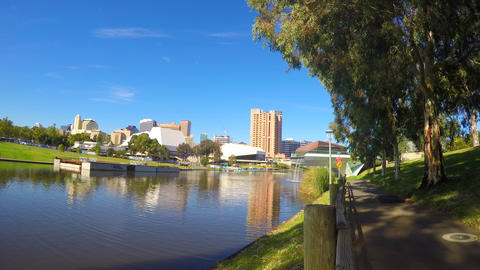 180 timelapse of Adelaide City Riverbank, South Australia, with views across the Footage